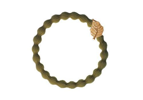 By Eloise Haarelastiek / Armband Gold Leaf Olive Green