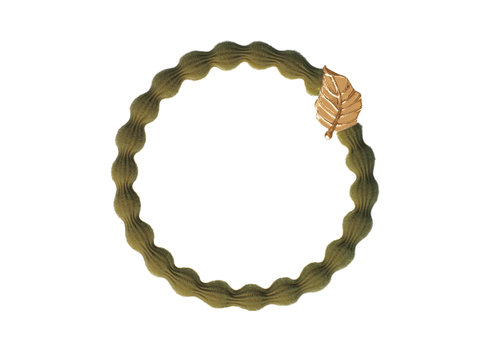 By Eloise Hair Tie / Bracelet Gold Leaf Olive Green NEW