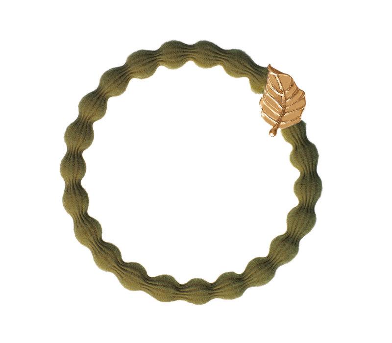 By Eloise Hair Tie / Bracelet Gold Leaf Olive Green NEW