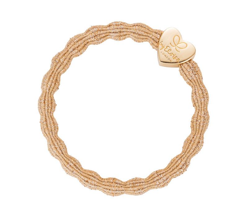 By Eloise Hair Tie / Bracelet Metallic Gold Heart Gold