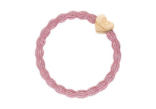 By Eloise Haarelastiek / Armband Metallic Gold Heart Rose Pink
