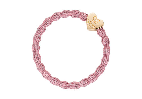 By Eloise Hair Tie / Bracelet Metallic Gold Heart Rose Pink