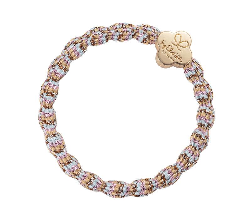 By Eloise Hair Tie / Bracelet Metallic Gold Quatrefoil Beach NEW