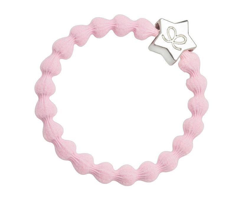 By Eloise Hair Tie / Bracelet Silver Star Soft Pink