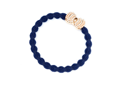 By Eloise Hair Tie / Bracelet Silver Diamanté Bow Navy Blue