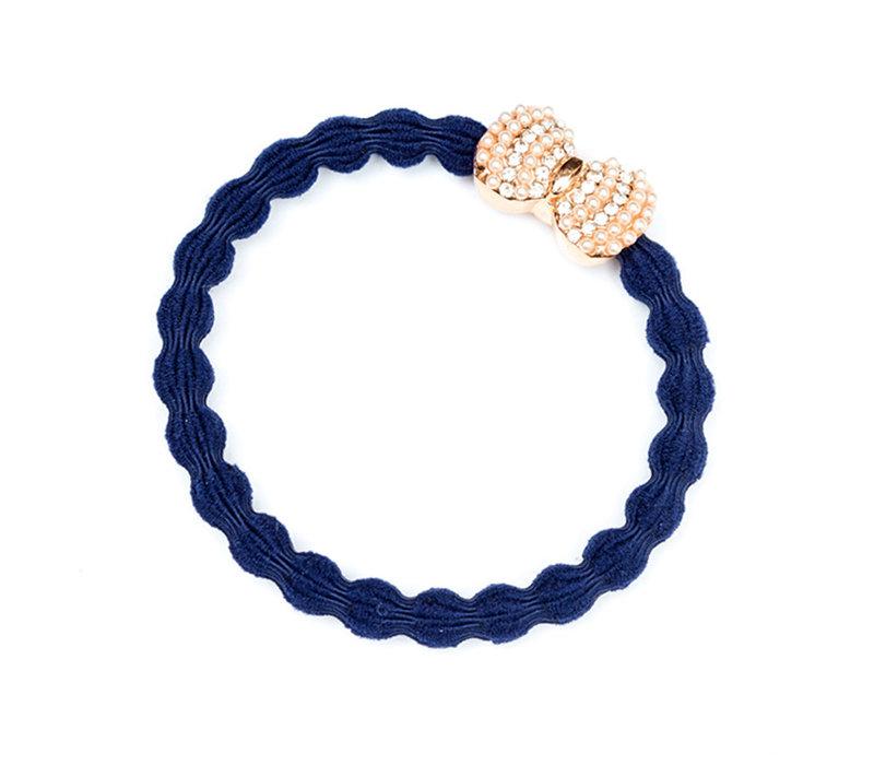 By Eloise Hair Tie / Bracelet Silver Diamanté Bow Navy Blue