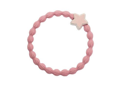 By Eloise Hair Tie / Bracelet Enamel Silver Star Champagne Pink