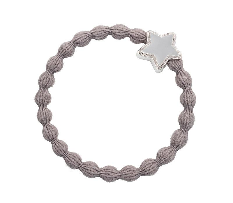 By Eloise Hair Tie / Bracelet Enamel Silver Star Cloudy Grey