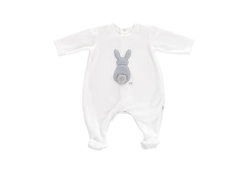 Theophile & Patachou Theophile & Patachou Baby All In One Velvet Bunny White - Grey