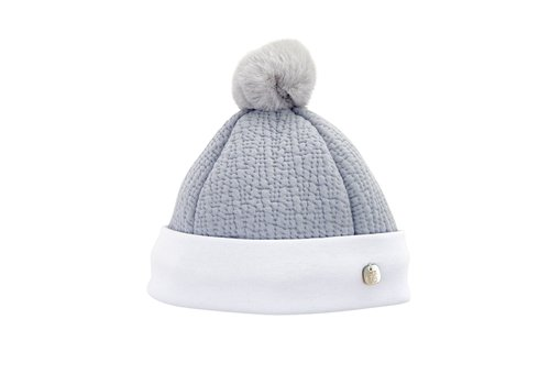 Theophile & Patachou Theophile & Patachou Hat Jersey Padded Pompon Fur Royal Grey
