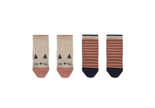 Liewood Liewood Silas Socks Cat - Stripe Coral Blush 2 Pack
