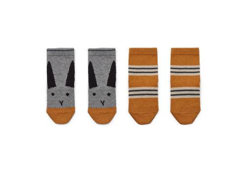 Liewood Liewood Silas Kousjes Rabbit - Stripe Mustard 2 Pack
