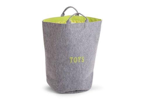 Childhome Childhome Felt Toybag Round Grey - Lime