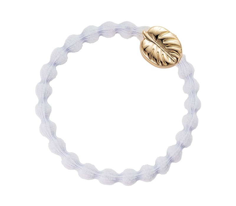 By Eloise Haarelastiek / Armband Gold Palm Leaf White