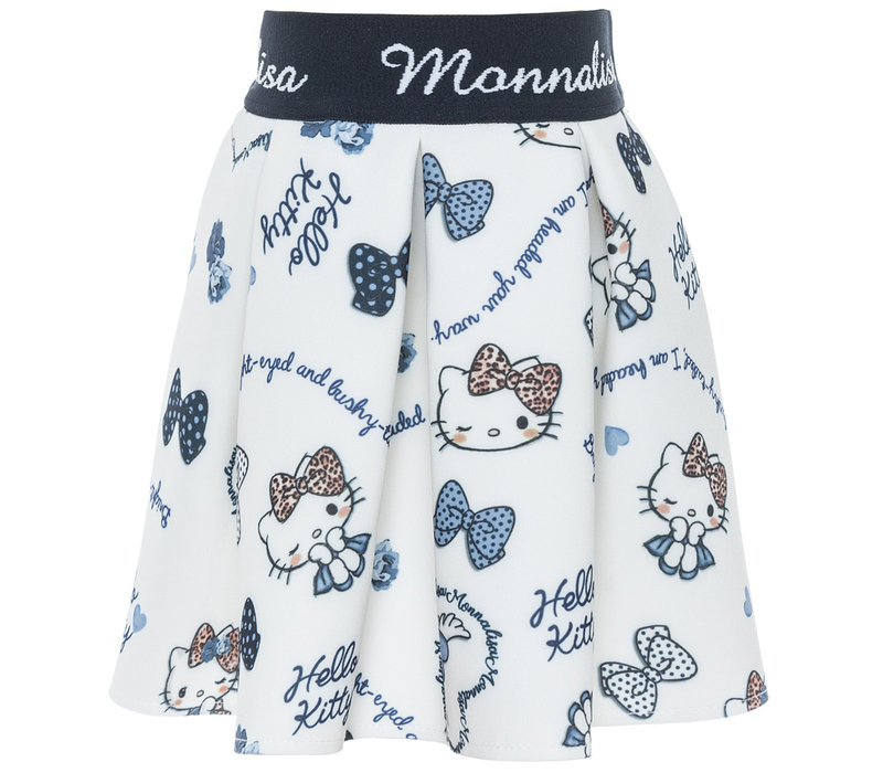 Monnalisa Rok Hello Kitty Wit - Blauw