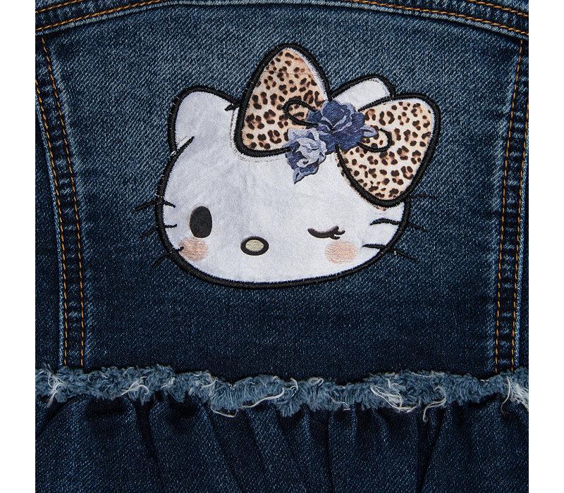 Monnalisa Jeansjas Hello Kitty Leopard Kraag