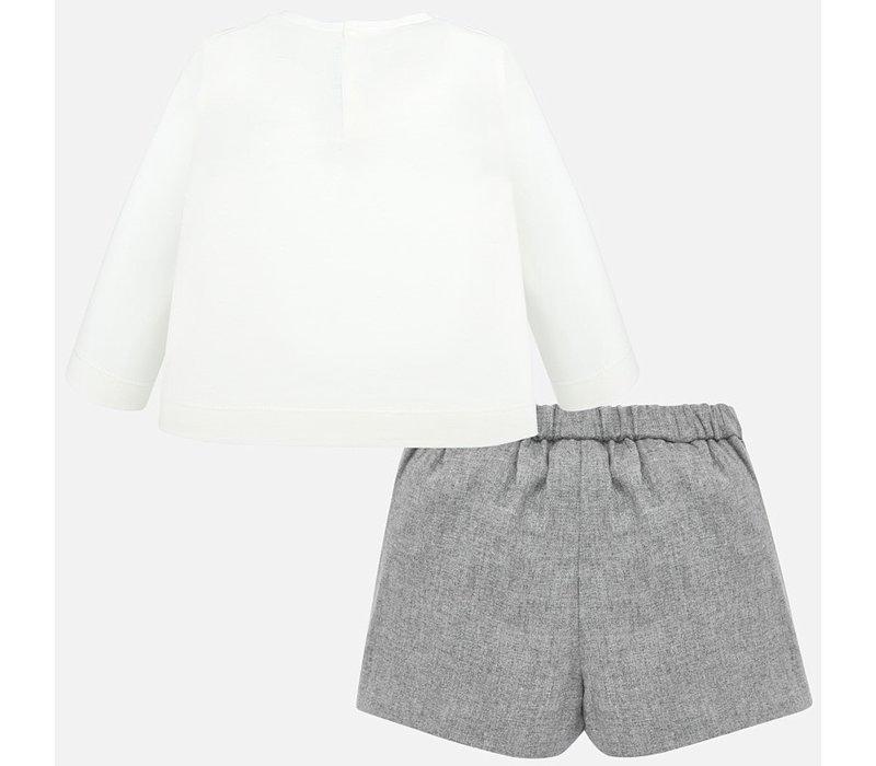 Mayoral Bermuda Shorts & Shirt Set Silver