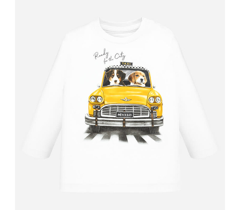 """Mayoral L/S """"Taxi"""" T-Shirt Cream"""