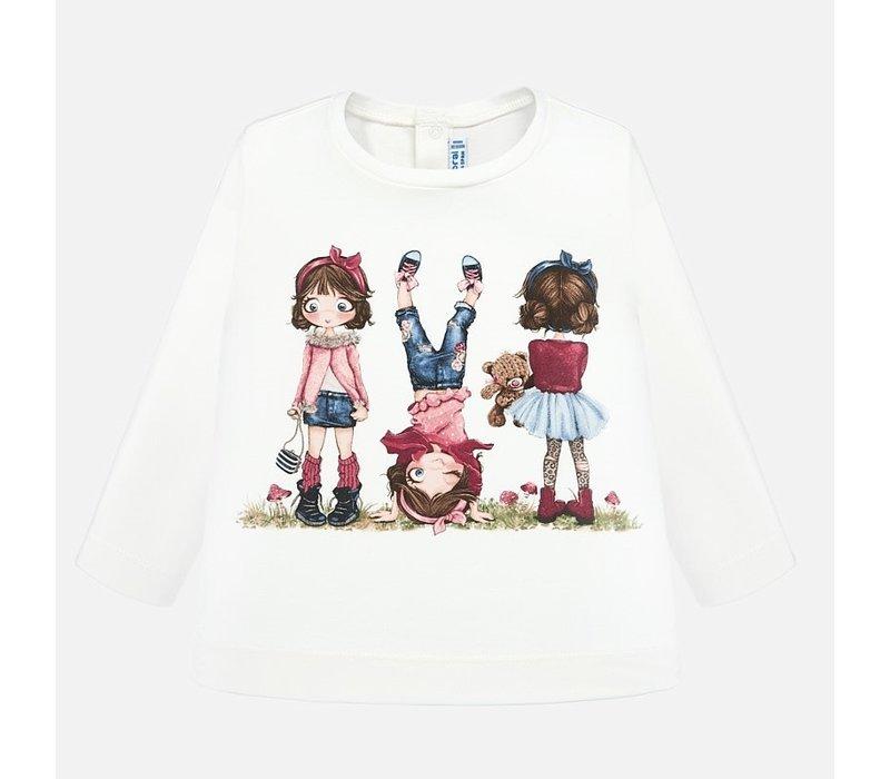 Mayoral L/S Printed T-Shirt Natur-Pink