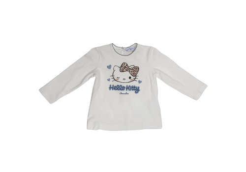 Monnalisa Monnalisa T-Shirt Hello Kitty Wit - Blauw