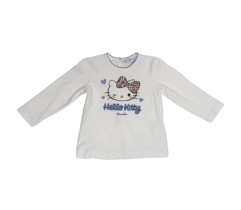 Monnalisa T-Shirt Hello Kitty Wit - Blauw