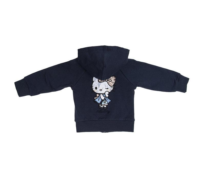Monnalisa Trui Rits Hello Kitty Blauw