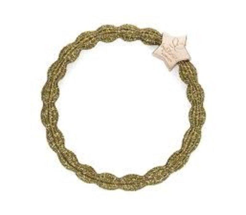 By Eloise Haarelastiek / Armband Metallic Gold Star Olive Green