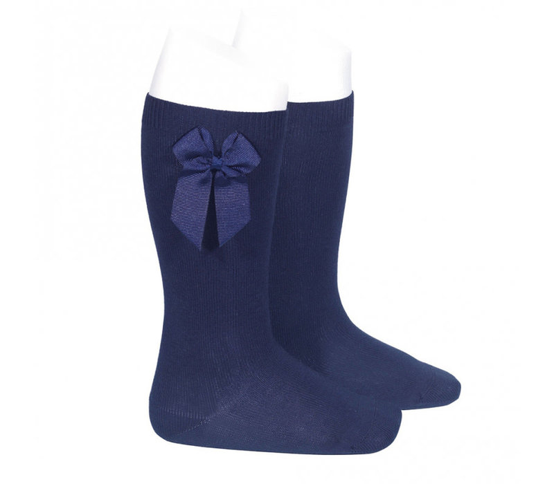 Condor Knee Socks With Bow On The Side Navy