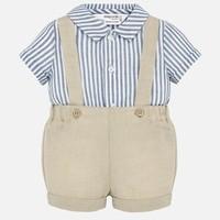 Mayoral Suspender Pants And Shirt Set Croissant