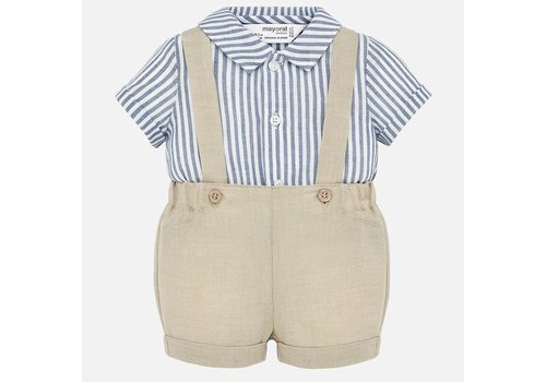 Mayoral Mayoral Suspender Pants And Shirt Set Croissant