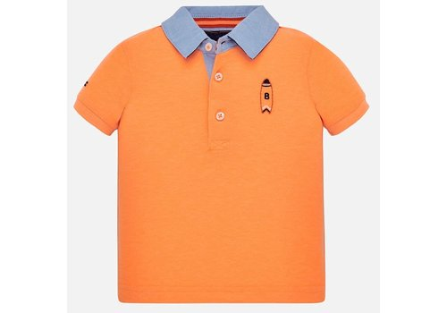 Mayoral Mayoral Polo s/s Smooth Embroidery Neon Mango