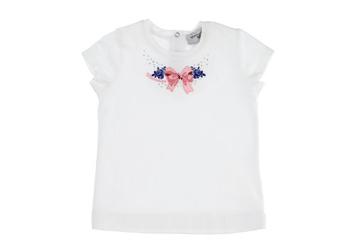 Monnalisa Monnalisa T-Shirt C/Fiocchino Bianco+Rosa