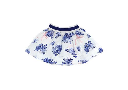 Monnalisa Monnalisa Gonna St.Bouquet Bianco + Blu