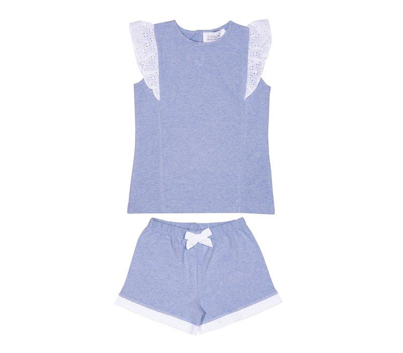 Cotolini Pyjama Fille Short Aude Ciel Chiné + Blanc Broderie