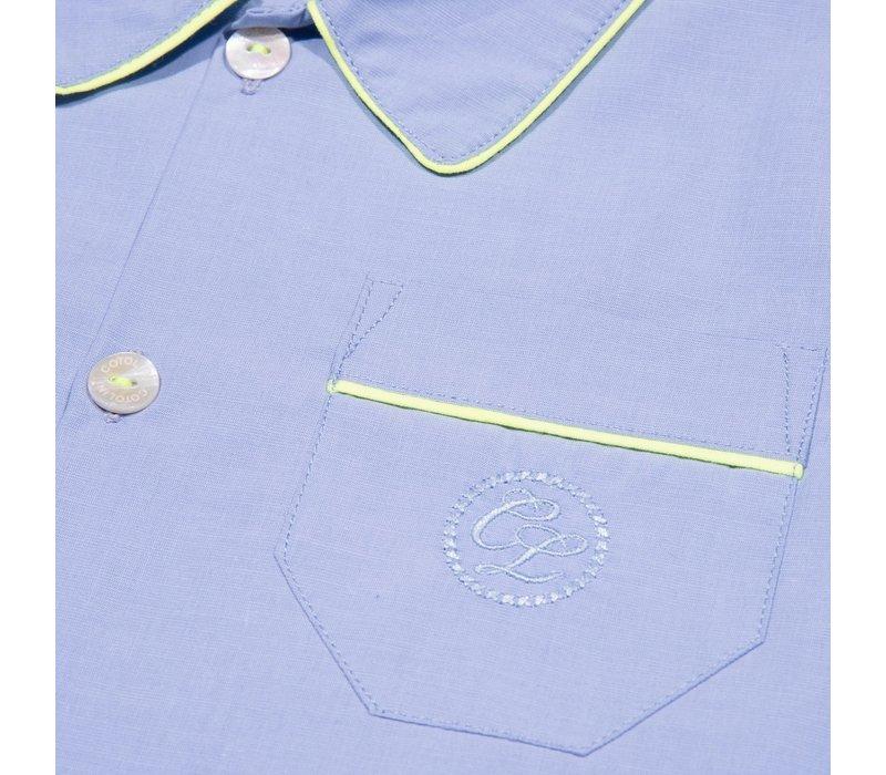 Cotolini Pyjama Short Arthur Ciel Uni Pp Fluo Ciel