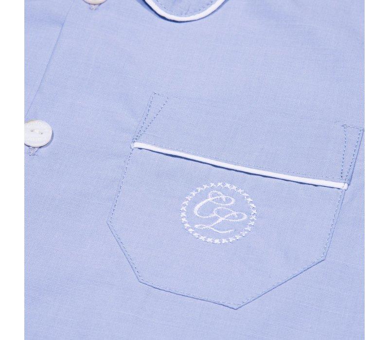 Cotolini Pyjama Short Arthur Ciel Uni Pp Blanc Ciel Panama