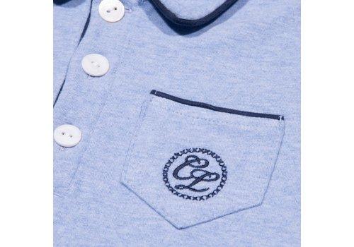 Cotolini Cotolini Pyjama Short Cyrille Ciel Chiné + Marine Ciel Chiné