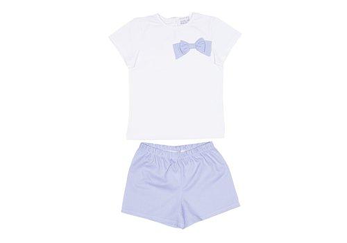 Cotolini Cotolini Pyjama Fille Short Rosalie Vichy Ciel + Blanc Maille + Panama