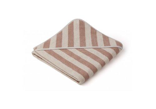 Liewood Liewood Louie hooded towel Y/D stripe: Rose/sandy