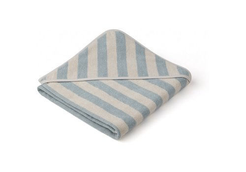 Liewood Liewood Louie hooded towel Y/D stripe: Sea blue/sandy