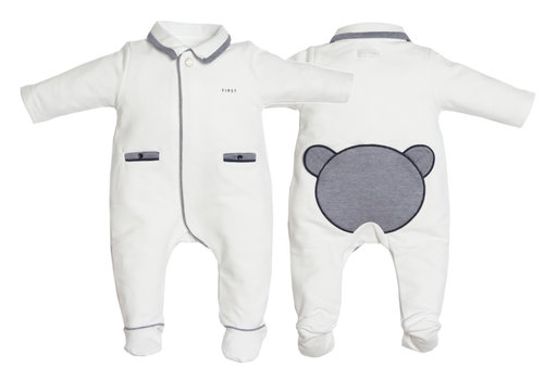 My First Collection First Pyjama Teddy Twill Wit-Blauw