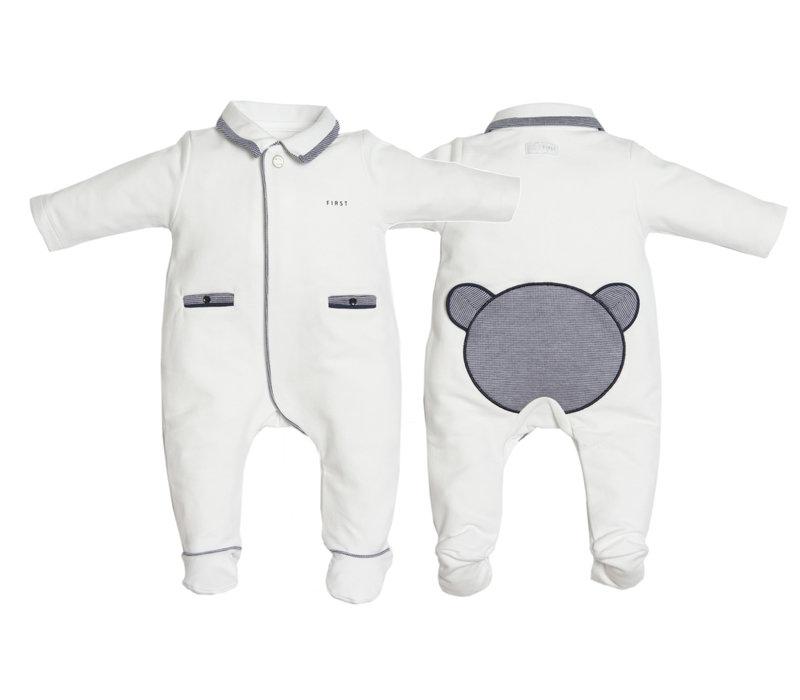 First Pyjama Teddy Twill Wit-Blauw