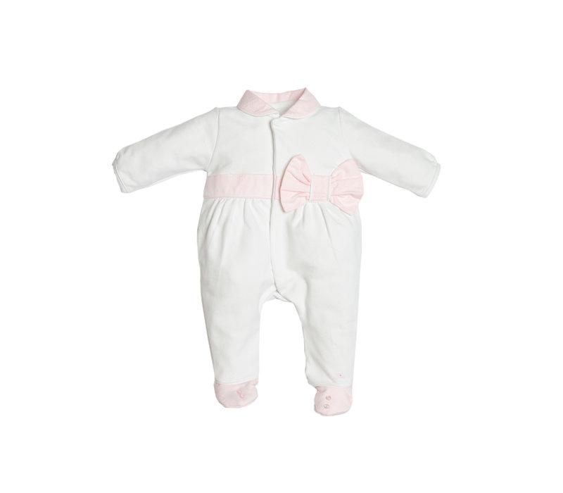 First Pyjama Met XXL-Strik Wit-Roze
