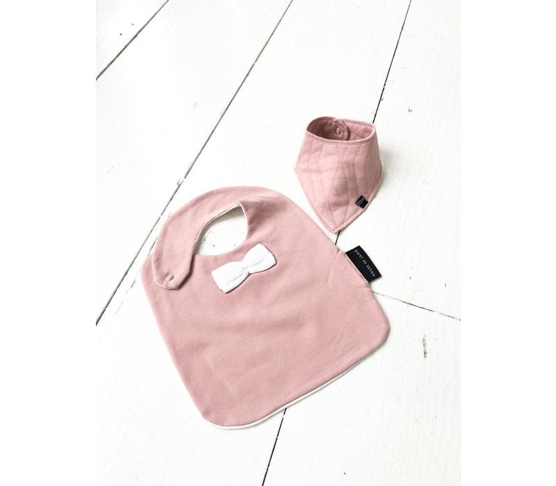House Of Jamie Burp Bib Geo Jacq - Powder Pink