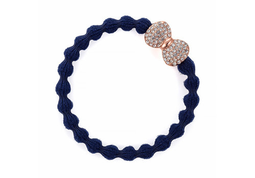 By Eloise Haarelastiek / Armband Rose Gold Diamante Bow Navy