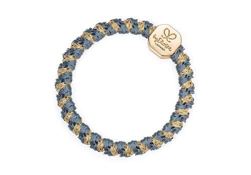 By Eloise Haarelastiek / Armband Woven Gold Nugget Azure