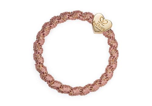 By Eloise Haarelastiek / Armband Woven Gold Heart Rose