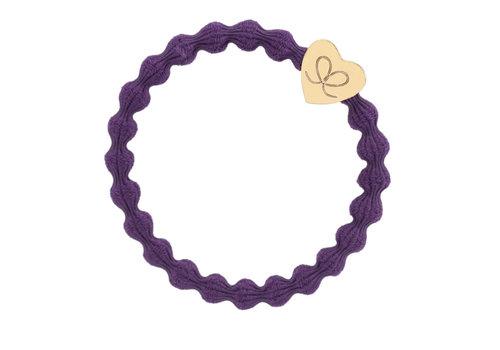 By Eloise Haarelastiek / Armband Gold Heart Purple