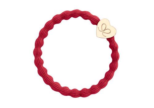 By Eloise Haarelastiek / Armband Gold Heart Cherry Red