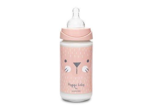 Suavinex Suavinex - HYGGE - Fles - Glas - Silic. - 3 Pos. - 240ml - Pink Whiskers